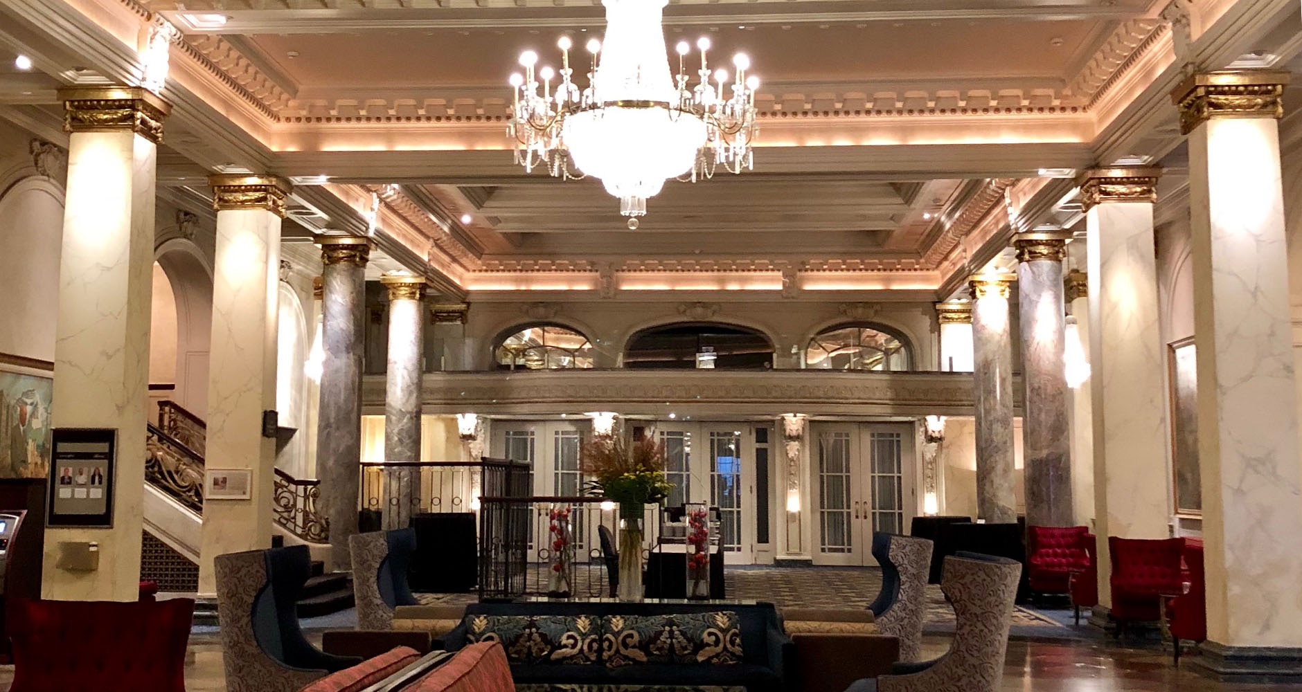 The lobby at the Fairmont Palliser in Downtown Calgary