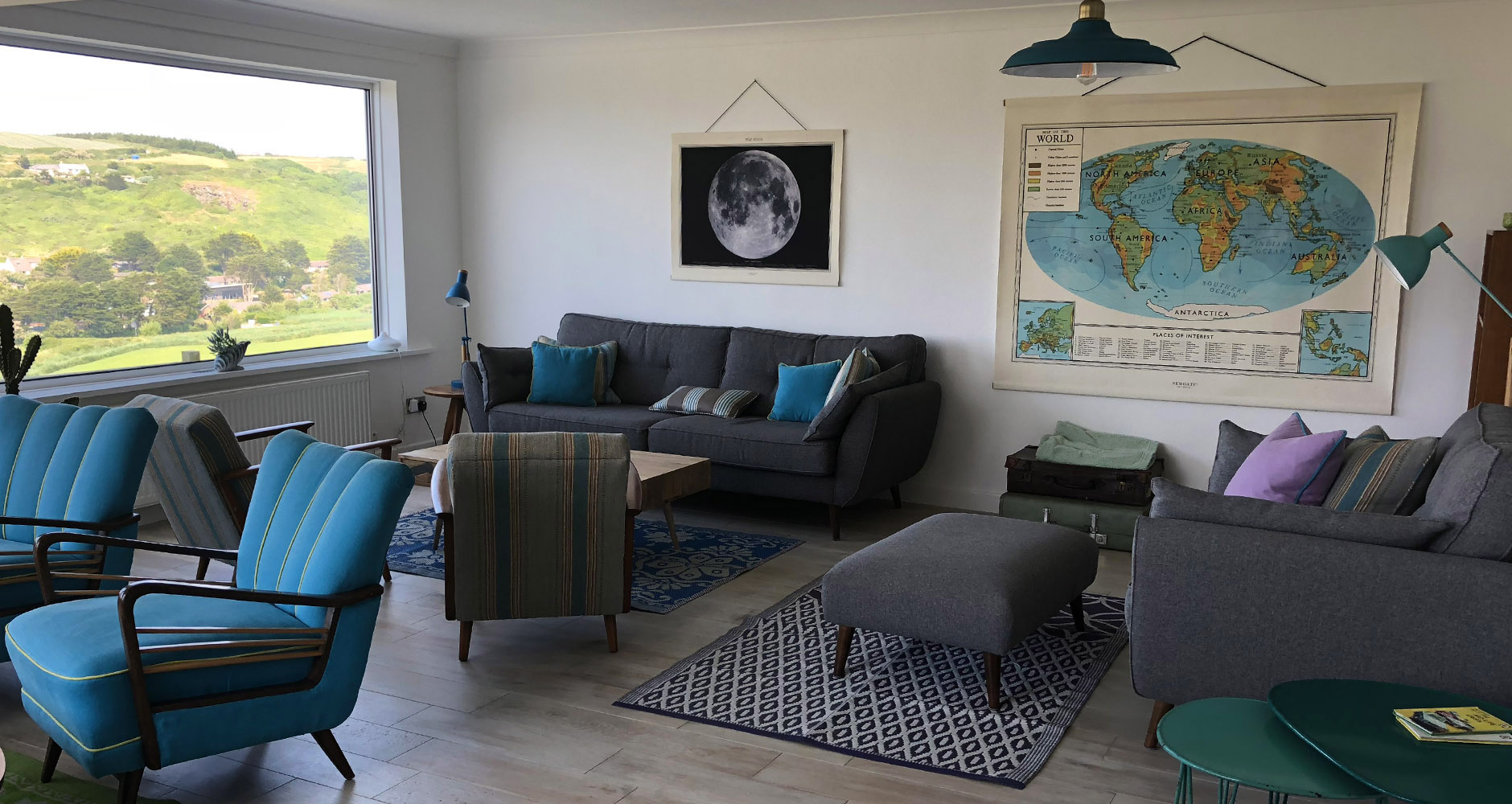 Very cool lounge area for guests of Seavista B&B in Cornwall