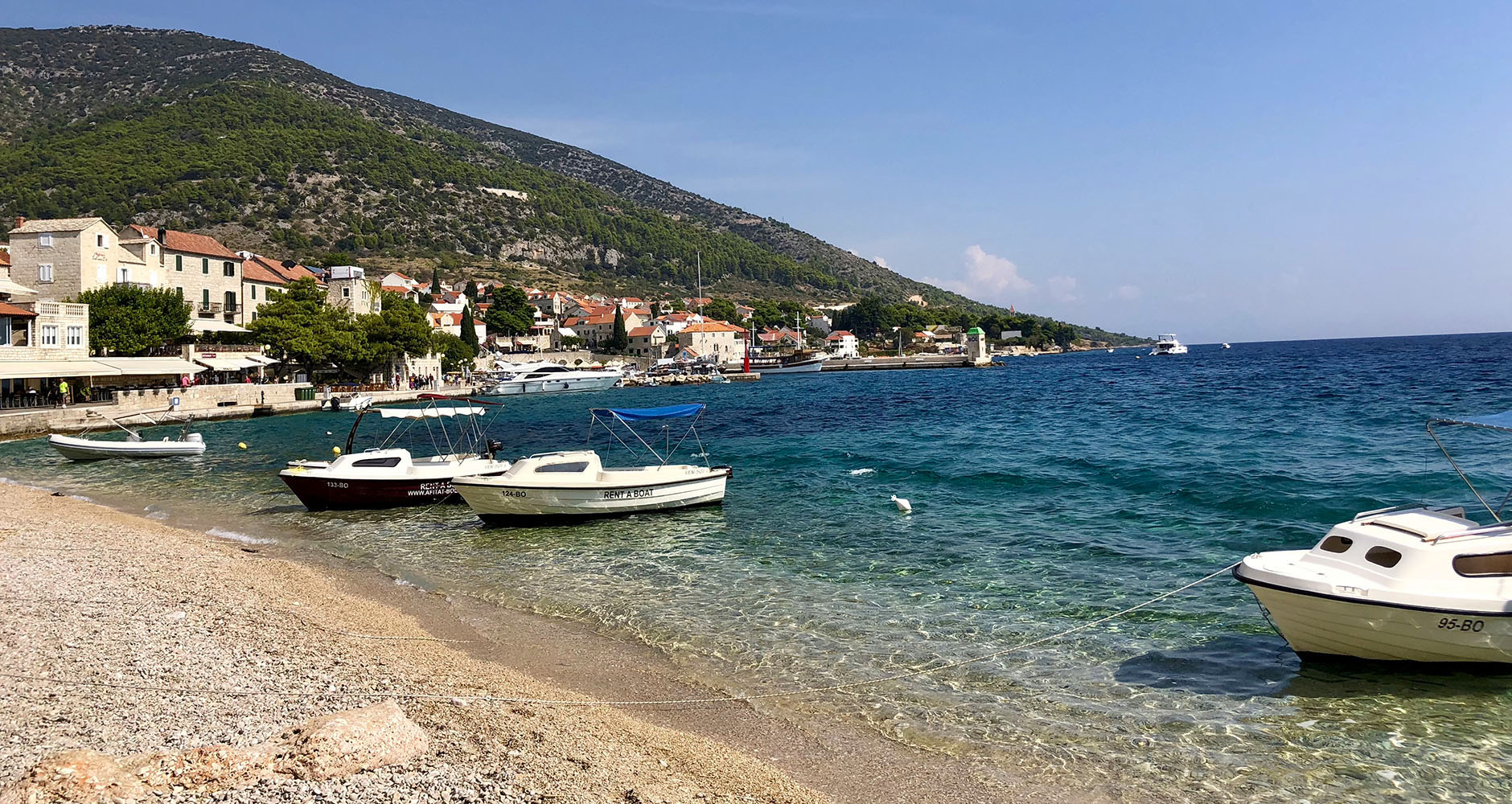 Arriving at the port in Bol, Brac