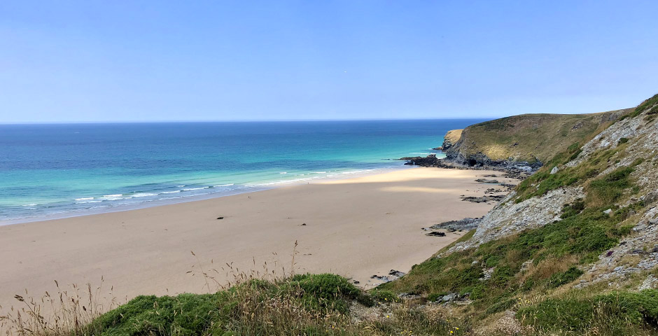 The magnificent beach at Watergate Bay