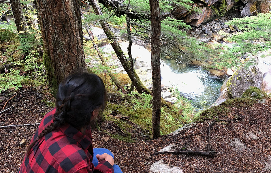 Me looking at Rainbow Falls in Whistler - British Columbia, Canada